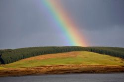 Rainbow in the Welsh countryside