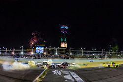 NASCAR Camping World Truck Series 2014 champion Matt Crafton celebrates with race winner Darrell Wallace Jr. and Kyle Busch