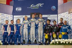 LMP2 podium: 1st place Matthew Howson, Richard Bradley, Alexandre Imperatori; 2nd place Kirill Ladygin, Viktor Shaitar, Anton Ladygin; 3rd place Mark Patterson, Keiko Ihara, David Cheng
