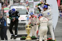 Podium: winners Sébastien Ogier and Julien Ingrassia, second place Mikko Hirvonen and Jarmo Lehtinen