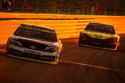 Denny Hamlin, Joe Gibbs Racing Toyota leads Joey Logano, Team Penske Ford