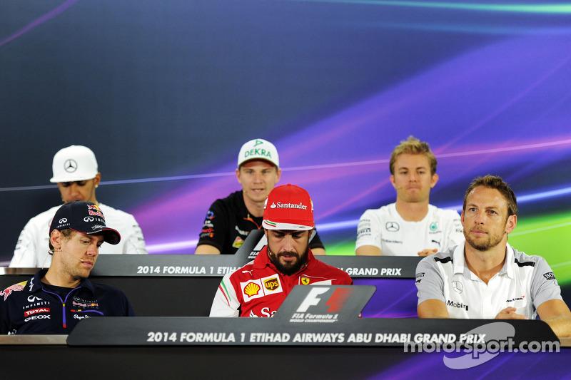 La conferenza stampa FIA, Mercedes AMG F1; Nico Hulkenberg, Sahara Force India F1; Nico Rosberg, Mer