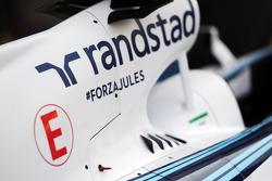 威廉姆斯FW36赛车—引擎盖上支持朱尔斯·比安奇(法国)的话语