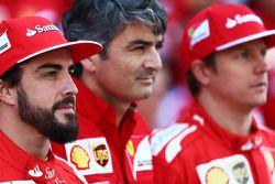 (L to R): Fernando Alonso, Ferrari with Marco Mattiacci, Ferrari Team Principal and Kimi Raikkonen, Ferrari at a team photograph