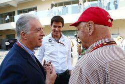 (L to R): Piero Ferrari, Ferrari Vice-President with Toto Wolff, Mercedes AMG F1 Shareholder and Executive Director and Niki Lauda, Mercedes Non-Executive Chairman