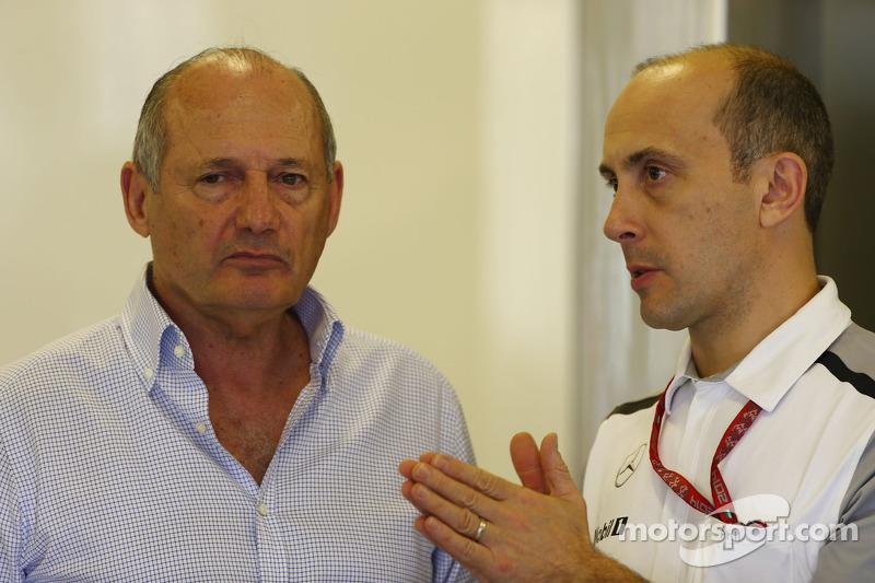 (L to R): Ron Dennis, McLaren Executive Chairman with Phil Prew, McLaren Race Engineer