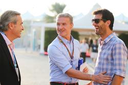(I a D): Carlos Sainz con David Coulthard, Red Bull Racing y Scuderia Toro / BBC Television Commentator y Mark Webber, Piloto del equipo Porsche WEC