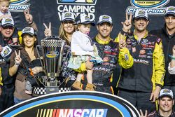 Championship victory lane: NASCAR Camping World Truck Series 2014 champion Matt Crafton celebrates