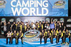 Championship victory lane: NASCAR Camping World Truck Series 2014 champion Matt Crafton celebrates