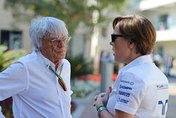 (L to R): Bernie Ecclestone, with Claire Williams, Williams Deputy Team Principal