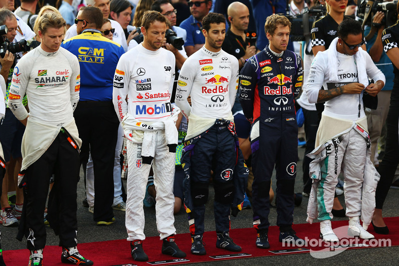 (L to R): Nico Hulkenberg, Sahara Force India F1; Jenson Button, McLaren; Daniel Ricciardo, Red Bull