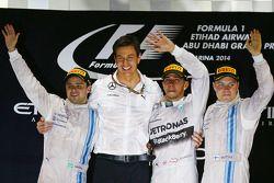 Podio: vincitore della gara e campione del mondo 2014 Lewis Hamilton, Mercedes AMG F1, secondo posto di Felipe Massa, Williams F1 Team, terzo posto Valtteri Bottas, Williams F1 Team, Toto Wolff, capo della Mercedes AMG F1