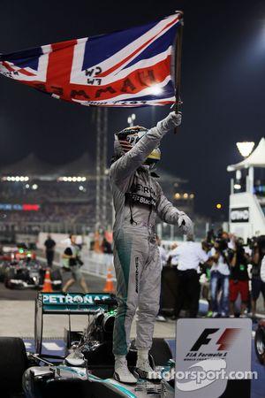 Race winner and World Champion Lewis Hamilton, Mercedes AMG F1 W05 celebrates in parc ferme