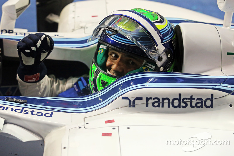 Felipe Massa, Williams FW36 celebrates his second position in parc ferme