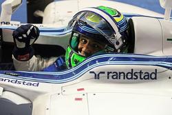 Felipe Massa, Williams FW36 celebrates his second position in parc ferme