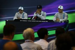 yarış sonrası FIA Basın Konferansı: Felipe Massa, Williams, ikinci; Lewis Hamilton, Mercedes AMG F1,