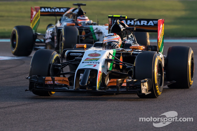 Sergio Pérez, Sahara Force India F1 VJM07 lidera a su compañero Nico Hulkenberg, Sahara Force Indi