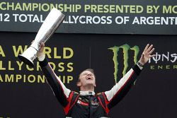 Winner Petter Solberg celebrates