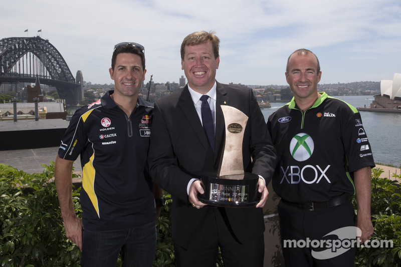 Deputy Premier and Minister for Tourism & Major Events Troy Grant with drivers Marcos Ambrose and Ja
