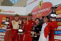 Ferrari Challenge Europe race 1 podium - Coppa Shell: winner Massimiliano Bianchi, second place Dirk Adamski