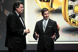 NASCAR Modified Tour champion Doug Coby gets a ring from NASCAR president Mike Helton
