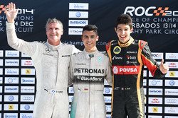 Winner David Coulthard, second place Pascal Wehrlein, third place Esteban Ocon