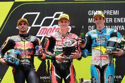 Podium : le deuxième, Miguel Oliveira, Red Bull KTM Ajo, le vainqueur Fabio Quartararo, Speed Up Racing, le troisième, Alex Marquez, Marc VDS