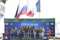 LMP2 podium: Roman Rusinov, Andrea Pizzitola, Jean-Eric Vergne, G-Drive Racing, second place Nicolas Lapierre, Andre Negrao, Pierre Thiriet, Signatech Alpine, third place Vincent Capillaire, Jonathan Hirschi, Tristan Gommendy, Graff Racing