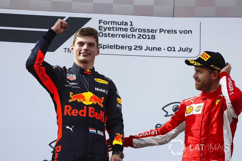 Max Verstappen, Red Bull Racing, y Sebastian Vettel, Ferrari