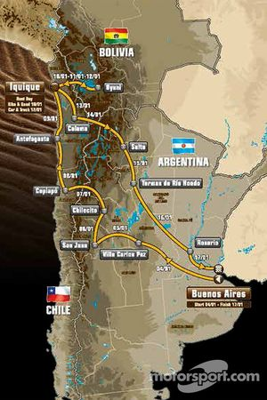 rota, Arjantin, Bolivya, Şili
