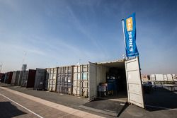 Containers that bring the cars and equipment in Dubai