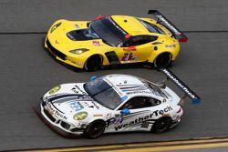 #22 Alex Job Racing Porsche 911 GT America: Cooper MacNeil, Leh Keen, Andrew Davis, Shane van Gisbergen, #4 Corvette Racing Chevrolet Corvette C7.R: Oliver Gavin, Tommy Milner, Simon Pagenaud