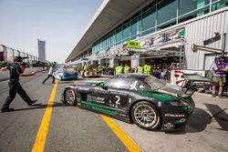 Pit stop for #2 Black Falcon Mercedes SLS AMG GT3: Abdulaziz Al Faisal, Hubert Haupt, Yelmer Buurman