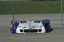 The damaged bodywork of #50 Fifty Plus Racing Endures for a Cure/Highway to Help Race Team Riley BMW