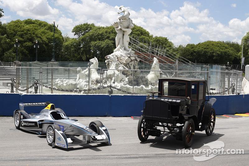 Formula E car and classic car
