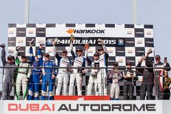 SP3 podium: class winners Euan Hankey, Salih Yoluc, Bradley Ellis, Adrian Barwick, second place Tony