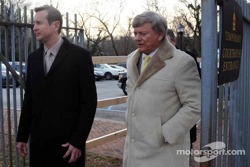 Kurt Busch and Rusty Hardin leave the Kent County family courthouse