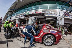 Pit stop for #30 Ram Racing Mercedes SLS AMG GT3: Cheerag Arya, Thomas Jäger, Tom Onslow-Cole, Adam