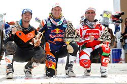 Bike category podium: winner Marc Coma, second place Paulo Goncalves, third place Toby Price