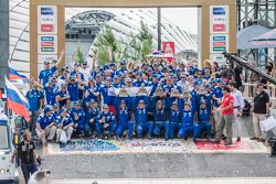 Truck category podium: winners Ayrat Mardeev, Aydar Belyaev, Dmitry Svistunov, second place Eduard N