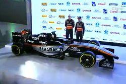 Nico Hulkenberg y Sergio Pérez con el auto 2015 de Force India