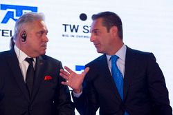 Dr. Vijay Mallya, Sahara Force India F1 Team Owner and Carlos Slim, Chairman of America Movil