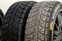 Michelin-Reifen mit Spikes, vorher und nachher