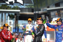 Podium: winnaars Jamie McMurray, Tony Kanaan en Scott Dixon, Chip Ganassi Racing
