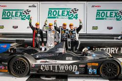 PC podium: #52 PR1 Mathiasen Motorsports Oreca FLM09: Mike Guasch, Andrew Novich, Andrew Palmer, Tom