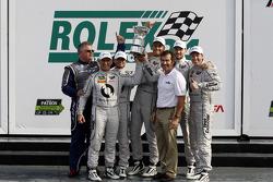 GTD podium: winners Al Carter, Ben Keating, Dominik Farnbacher, Kuno Wittmer, Cameron Lawrence