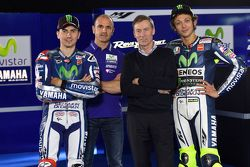 Lin Jarvis and Massimo Meregalli with Jorge Lorenzo and Valentino Rossi
