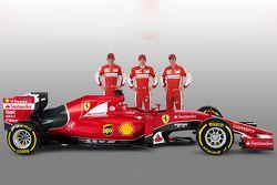 Esteban Gutierrez, Kimi Raikkonen, Sebastian Vettel, et la Ferrari SF15-T