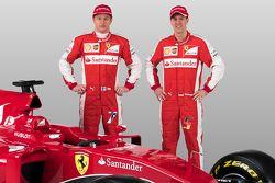 Kimi Raikkonen, Sebastian Vettel avec la Ferrari SF15-T
