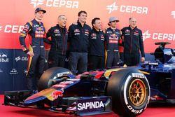 The Scuderia Toro Rosso STR10 is unveiled, Max Verstappen, Scuderia Toro Rosso; Paolo Marabini, Scuderia Toro Rosso Chief Designer; James Key, Scuderia Toro Rosso Technical Director; Matteo Piraccini, Scuderia Toro Rosso Chief Designer; Franz Tost, Scuder